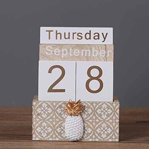 Calendario perpetuo de madera para salón con adorno de tipo inserto, Beige, 14.3x11x6.2cm, 1
