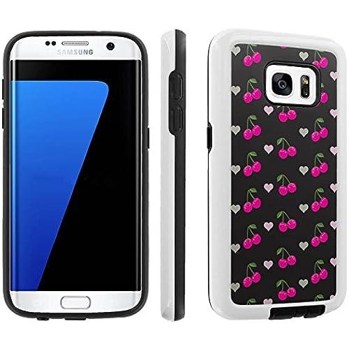 [Galaxy S7] [5.1 Screen] Armor Case [Skinguardz] [White/Black] Shock Absorbent Hybrid - [Black Pink Cherry] for Sales