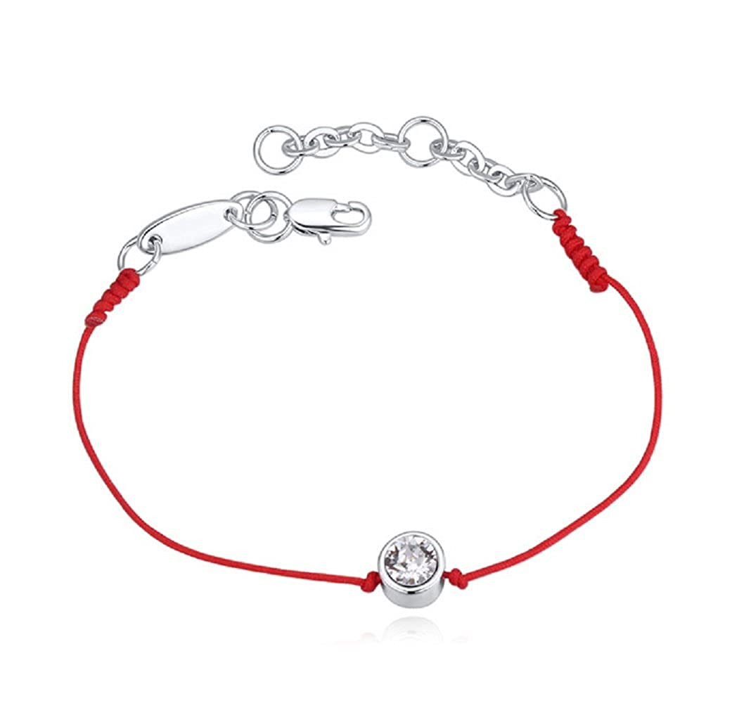 White Crystals from Swarovski Fashion Red Kabbalah Bracelet 18 ct White Gold Plated for Women 10.2 Crystalline CR-AZ-0060