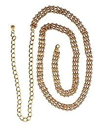 NYfashion101 Dressy Belly 3 Row Rhinestone Belt w/Adjustable Link Chain IBT2003G
