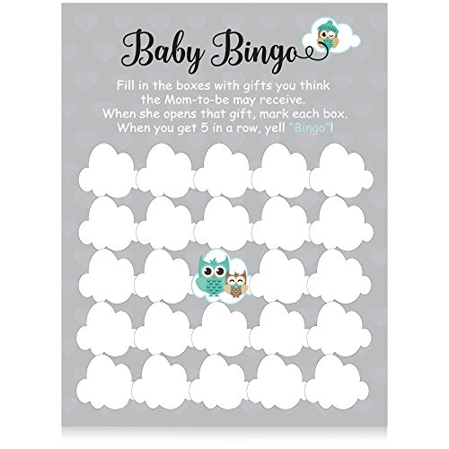 XOXOKristen Blue Baby Boy Shower Collection: Owl Baby Shower Party Games Baby Bingo -