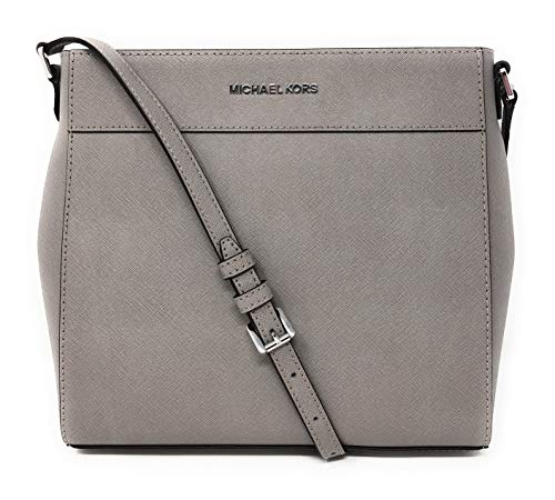 Michael Kors Jet Set Travel NS Saffiano Leather Messenger Bag in Pearl Grey
