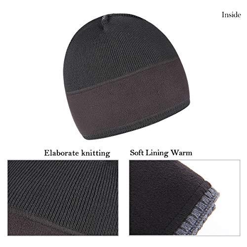 74d45404a26 OMECHY Mens Winter Warm Knitting Hats Plain Skull Beanie Cuff Toboggan Knit  Cap 4 Colors