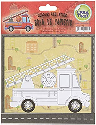 Creatiket 1110 Boyama Etiketi Itfaiye Insaat Arabalari Amazon Com Tr