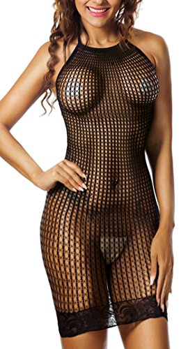 Freemale Women Sexy Lingerie Halter Fishnet Babydoll Stretch Min Dress Chemise (Sexy Stretch Lace Dress)