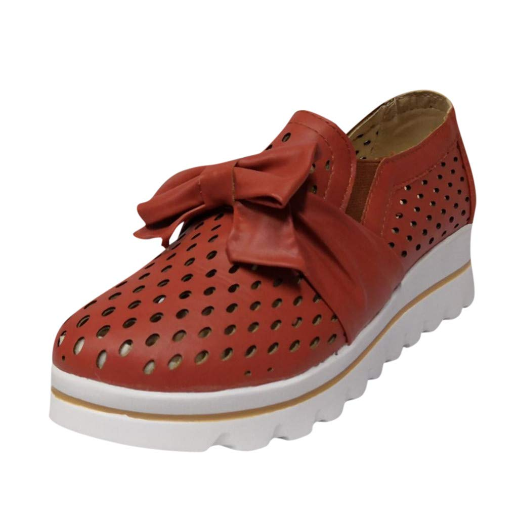 Dermanony Womens Slip on Sneaker Outdoor Leisure Fashion Bow Flat Mesh Breathable Wedges Walking Beach Casual Shoes Red by Dermanony _Shoes