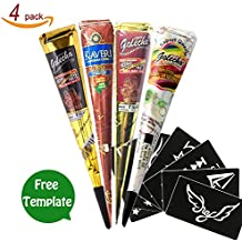 GSN Temporary Tattoo India Henna Cones Tattoo Paste Tatouage Temporary Paste Body Art Painting with Free Henna Stencil Set (Four-Color)