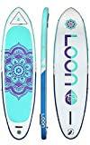 Loon Paddle Company Feather Light Balance Inflatable Yoga Paddle Board 10'8'' | Board, Travel Pack, Deck Bag and Pump