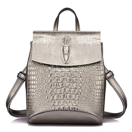 Fashion Backpack Women Sliver Shoulder Bag Leather Gray Prints Female Crocodile Split Multifunctional rww5qvRdx6