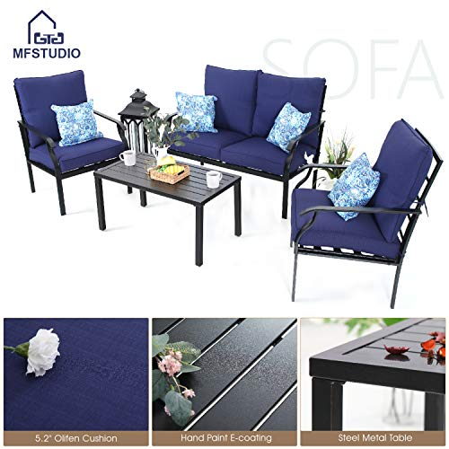 MF STUDIO 4 Piece Metal Patio Sofa Set Outdoor Furniture Dining Set Cushioned Conversation Set Backyard Garden Bistro Set, w/Loveseat-2 Chairs and 1 Coffee Table, 4 Free Pillows(Navy-Blue)