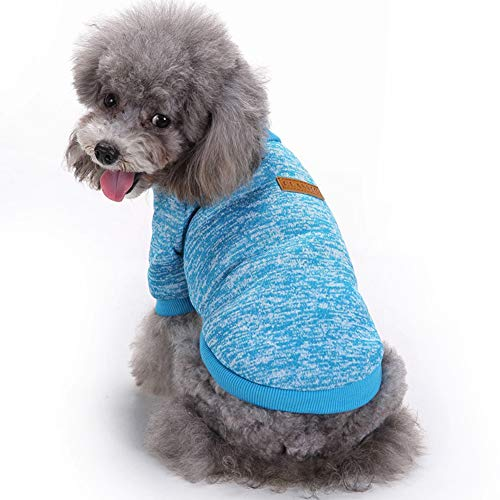 Fashion Focus On Pet Dog Clothes Knitwear Dog Sweater Soft Thickening Warm Pup Dogs Shirt Winter Puppy Sweater for Dogs (Light Blue, M)