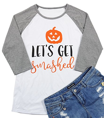 Let's Get Smashed Pumpkin Face T-Shirt Women Halloween Raglan 3/4 Sleeve Funny Baseball Tee Blouse Size M (Gray)
