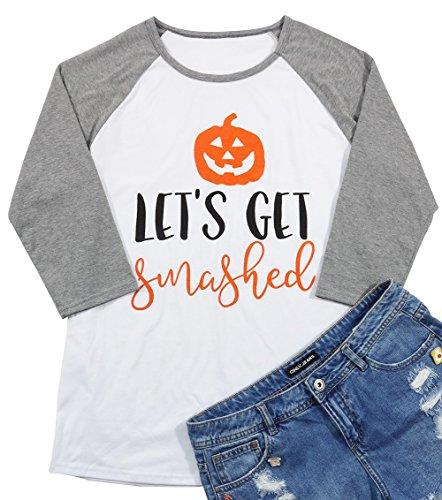 Let's Get Smashed Pumpkin Face T-Shirt Women Halloween Raglan 3/4 Sleeve Funny Baseball Tee Blouse Size M (Gray)