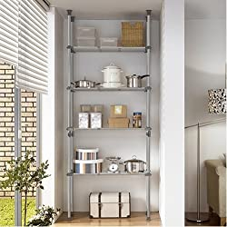 Prince Hanger Deluxe Width Adjustable Quadruple Shelving System, Steel, Silver