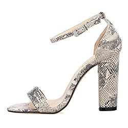 ZriEy Women's Ladies Fashion Strappy High Heel Sandals Ankle Strap Cuff Peep Sexy Toe Shoes White Snake Pattern , 6.5 M US / 37 M EU