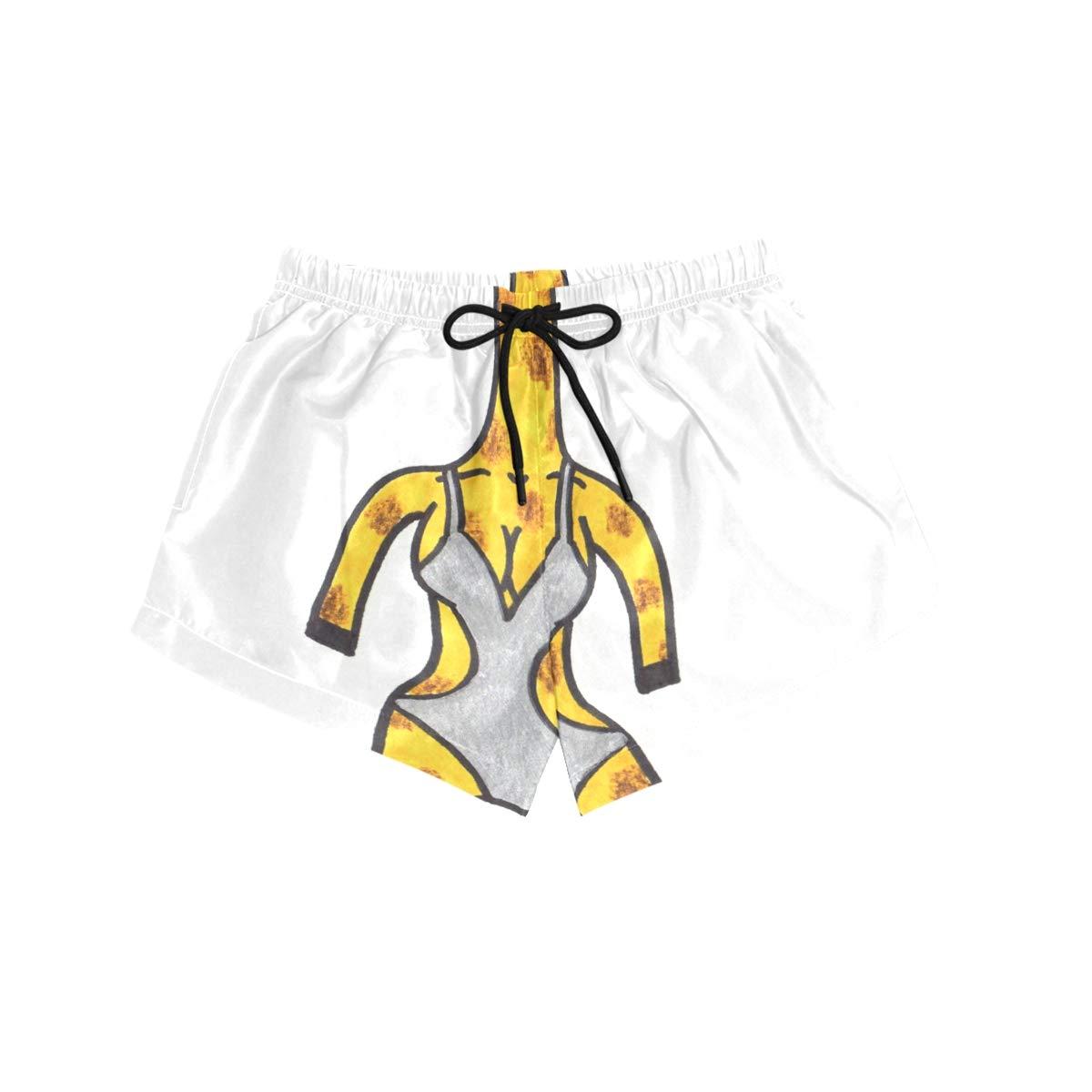 NWTSPY Giraffe Bathing Suit Womens Sport Beach Swim Shorts Board Shorts Swimsuit with Mesh Lining