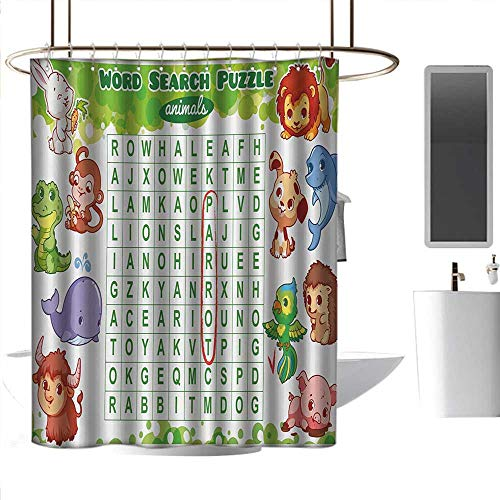 Shower Curtains Fabric Orange Word Search Puzzle,Educational Game for Kids Children Cute Sweet Animals Worksheet Print,Multicolor,W36 x L72,Shower Curtain for -