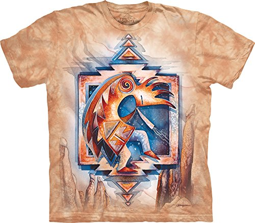 Kokopelli Adult T-shirt - The Mountain Just Keep Dancing Adult T-Shirt, Tan, XL