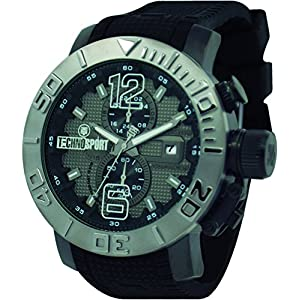 Technosport TS-230-8 Men Black Band, Stainless Steel Bezel 48mm Case Japan Movement with 3-Dial Chronograph Watch