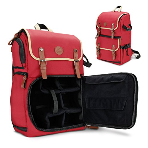 GOgroove DSLR Camera Backpack Case (Red) for Photography and Laptop Travel Use with Accessory Storage Room , Tripod Holder and Weatherproof Rain Cover for Sony a6000 , Canon EOS T6 , Nikon D5500 (Nikon 830 Camera Case)