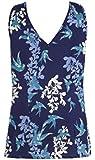 Anthology Blue Bird Print V-Neck Smart Sleeveless Blouse Plus Size 20 28