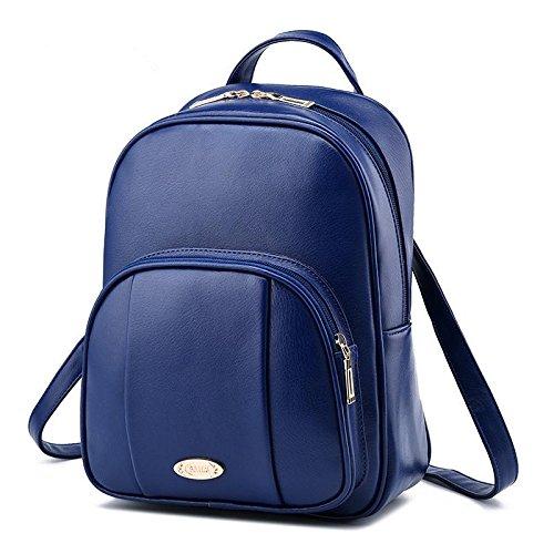 LDMB Bolsos para mujer PU cuero Coreano Casual Vertical sección relieve Color sólido alumnas mochila bolso , purple taro treasure blue