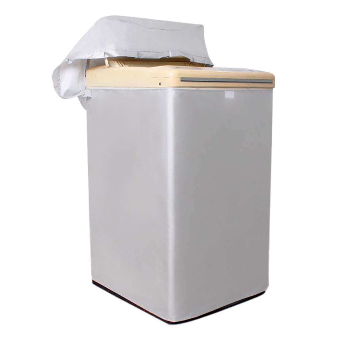 Enerhu Washing Machine Cover 2-way Zipper Waterproof Sunscreen Smoke-proof Protective No Elasticity Silvery Pulsator Washer Dust Cover L(63x61x92cm/24.76x23.97x36.16inch)