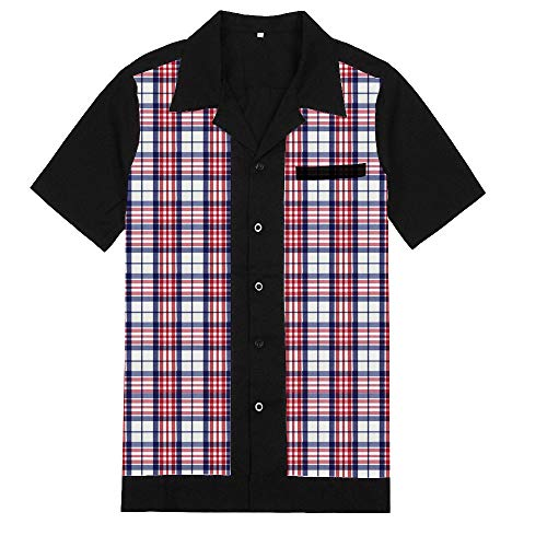 (Anchor MSJ Men's 50s Male Clothing Rockabilly Style Casual Cotton Blouse Mens Fifties Bowling Dress Shirts (L,)