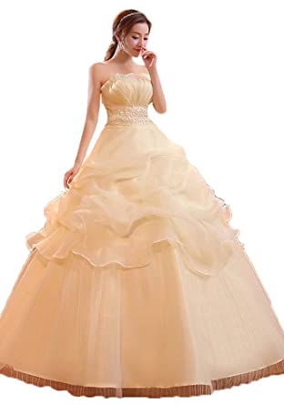 Okaybrial Womens Cheap Prom Gowns Strapless Organza Ball Gown Wedding Gowns for Bride