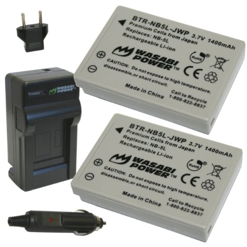 Wasabi Power Battery (2-Pack) and Charger for Canon NB-5L and Canon PowerShot S100, S110, SD700 IS, SD790 IS, SD800 IS, SD850 IS, SD870 IS, SD880 IS, SD890 IS, SD900 IS, SD950 IS, SD970 IS, SD990 IS, SX200 IS, SX210 IS, SX220 IS, SX230 HS ()