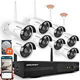 SMONET H.264+ Security Camera System Wireless,8CH Full HD 1080P Surveillance Camera System(2TB Hard Drive), 8pcs 2.0MP Outdoor&Indoor Wireless Security Cameras,P2P, Free APP,Easy Remote View
