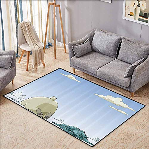 Children's Rug Cartoon Polar Bear Catches Fish in The Ice Hole Arctic Frozen Land Fun Animal Kids Design Blue Beige Non-Slip Backing W5'9 xL4'9