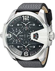 Diesel Mens DZ7376 Uber Chief Stainless Steel Black Leather Watch