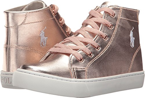 Polo Ralph Lauren Slater Mid Sneaker - Rose Gold/Metallic - Kids - (Gold Metallic Kid Footwear)