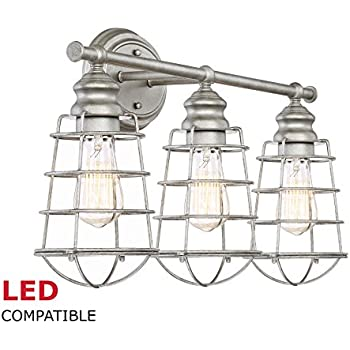 "Revel Owen 26"" 3-Light Industrial Vanity/Bathroom Light + Metal Cage Shades, Galvanized Steel Finish"