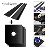 Gas Range Protectors, Silicone Stove Counter Gap Covers, Celover Stove Burner Covers, Non-stick Liners for Kitchen/Cooking, Heat-resistant & Cuttable, 4 Pack Stovetop Burner Liners+2 Pack Gap Covers