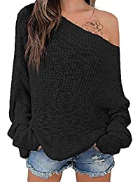 Women's Off Shoulder Sweater Batwing Sleeve Loose Oversized Pullover Knit Jumper