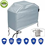 Hentex Outdoor BBQ Grill Cover 48''L×38''H, Breathable 3 Layer Eco Durable Waterproof, Velvet Liner Tight Fit by 2 Stopper Drawstring & Buckles, Barbecue Protector,Fit Weber, Brinkmann, Char Broil,