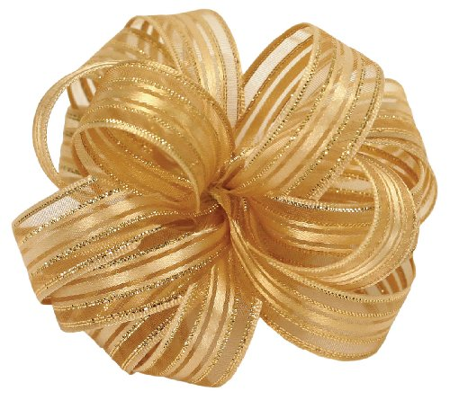Offray Veronica Satin Edge Sheer Craft Ribbon, 5/8-Inch Wide by 25-Yard Spool, Gold/Gold