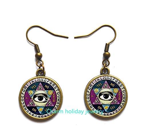 Psychic Reader Costume (Ouija Board Stud Earrings, Beautiful Quiji Board, Illuminati Stud Earrings, Psychic Palm Reader Stud Earrings, Halloween Stud Earrings, Halloween Jewelry.D0098)