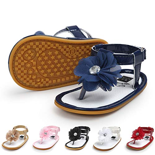 Infant Baby Girls Sandals Bowknots Summer Shoes Soft Sole T-Strap Toddler First Walker Crib Shoes(6-12 Months M US Infant,D-Navy)