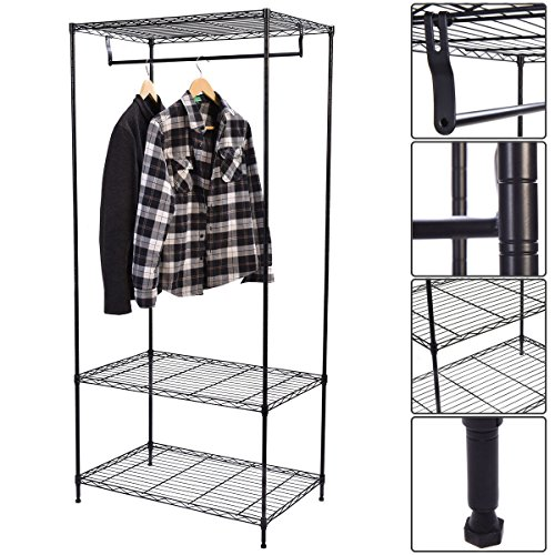 Sturdy 3-Tier Wire Shelf Wardrobe Garment Hanger Rack Get Organize With Free Standing - Uk Promo Warehouse Code