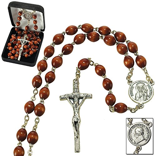Pope John Paul II, Crucifix With Brown Beads Metal 19.5-Inch Catholic Pendant ()