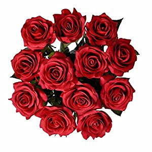 IPOPU Artificial Flowers, Silk Moisturizing Real Touch Rose Fake Flower with Green Leaves Wedding Bouquet for Home,Office, Party,Wedding Decoration and Festival Gift 12 Pcs 5