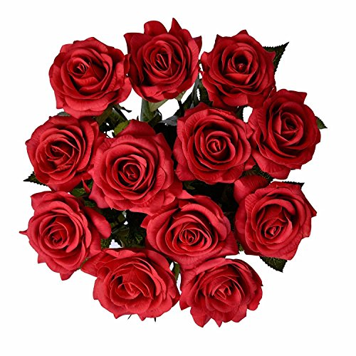 DIY Artificial Silk Craft Decoration Flowers Bridal Bouquets, Weddings, Wreaths, & Crafts, Single Closed Rose Bud Stem 1 Bunch of 12pcs (Red) (Single Rose)