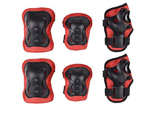 Wetietir Skating 6 Pcs/Set Kid's Protective Gear Set with Elbow Knee Handguard for Roller Skating Skateboard BMX Scooter Cycling (Black Red) for Protection by Wetietir
