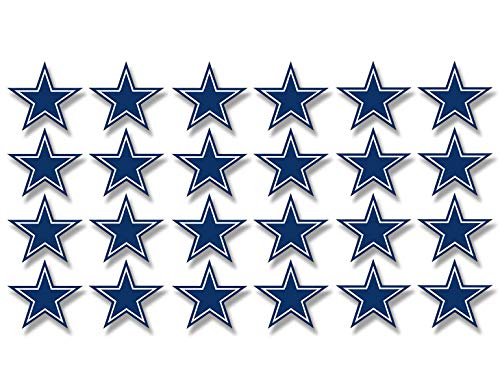 American Vinyl Sheet of 24: Small Dallas 1 Inch Star Shaped Stickers (Fan Cowboys Team Scrapbooking -
