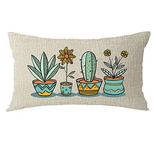 Bnitoam Plant Art Potted Cactus Succulent Flower Cotton Linen Throw Pillow Covers Case Cushion Cover Sofa Decorative Square 12x20 inch Decorative Pillow Wedding