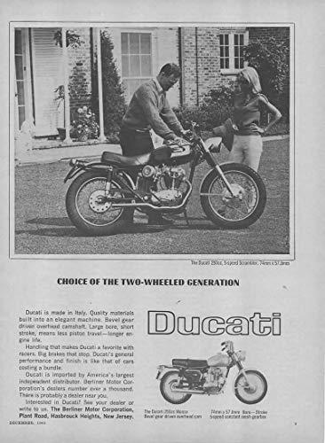 Magazine Print Ad: 1966 Ducati 250 cc, 5-Speed Scrambler and Monza Motorcycle Motorbike,