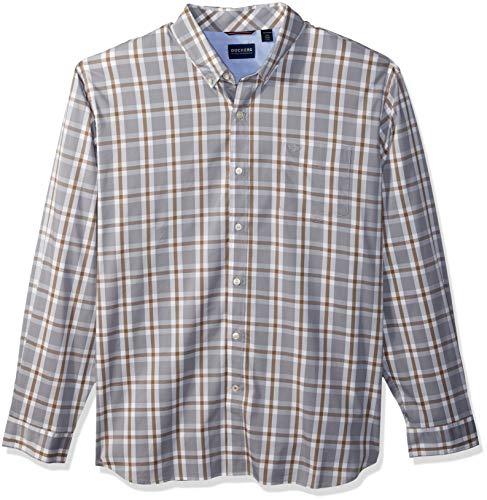 Dockers Men's Long Sleeve Button Front Comfort Flex Shirt, foil Gray, Small ()